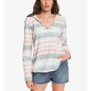 Roxy Hooded Poncho Tie Front Long Sleeve Shirt